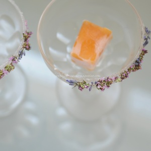 bellini sorbet in glass