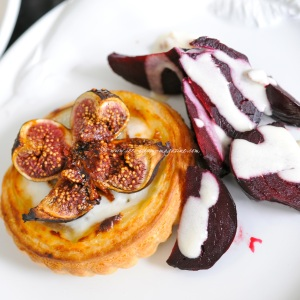 hot goat cheese tart with roasted honey figs and a beetroot walnut salad with goat cheese dressing