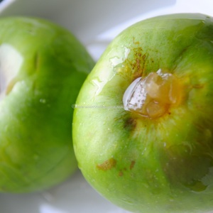 baked apple stuffed with ginger in syrup